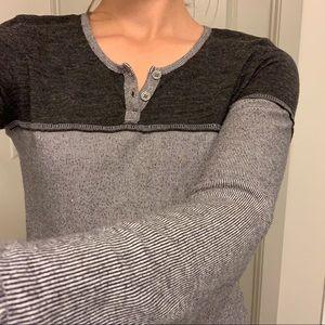 Prana Black & Grey Color Block Long Sleeve Top